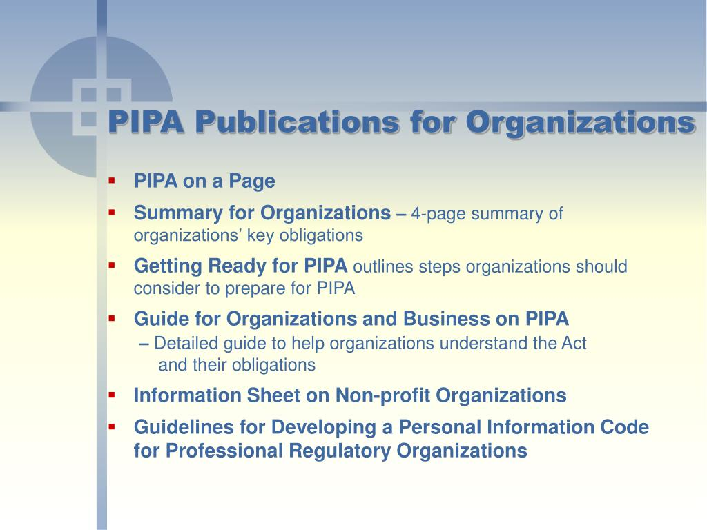 PIPA Publications for Organizations