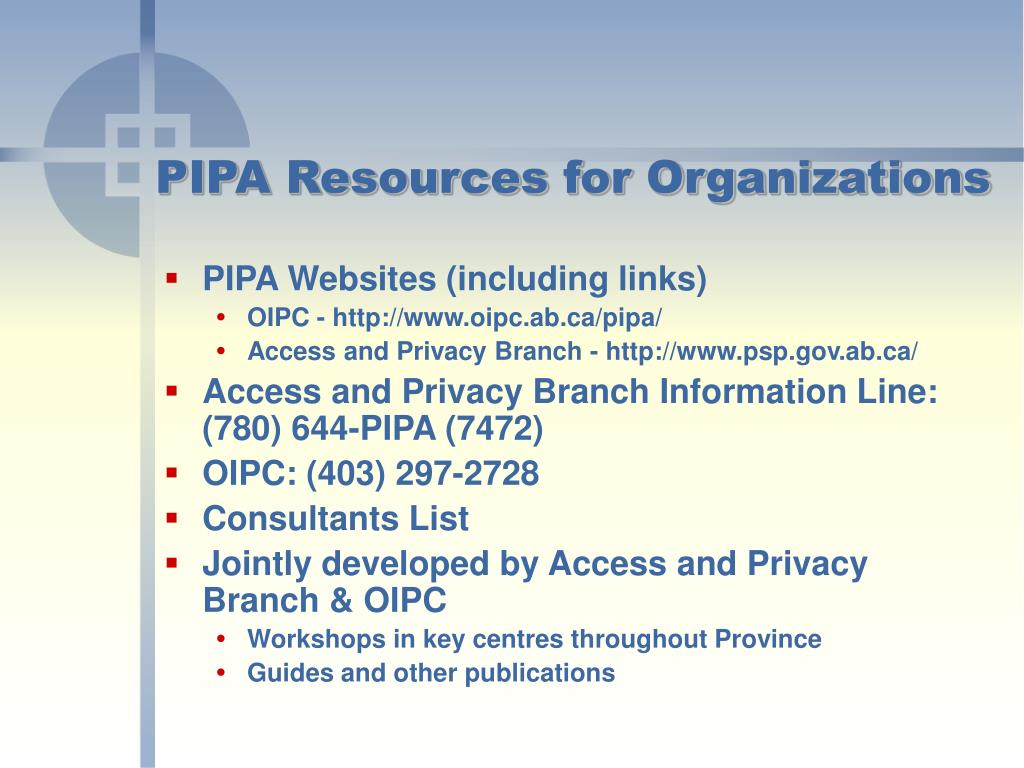 PIPA Resources for Organizations