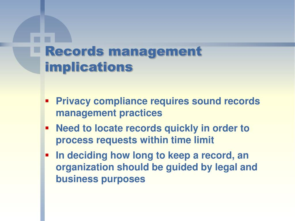 Records management implications