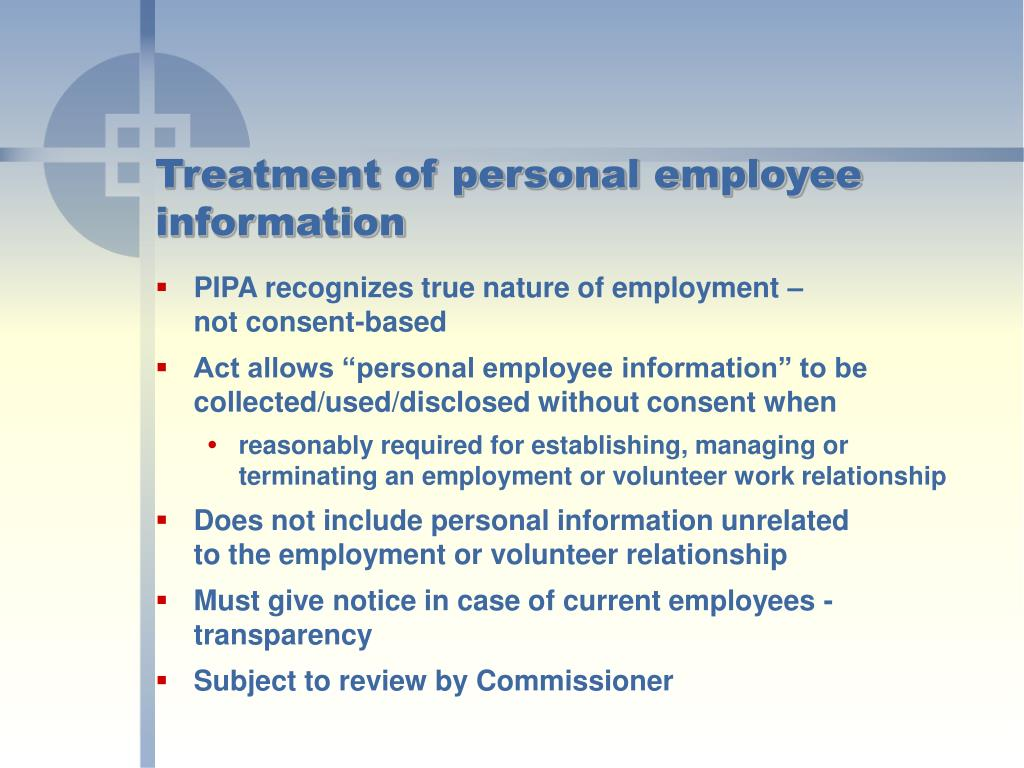 Treatment of personal employee information