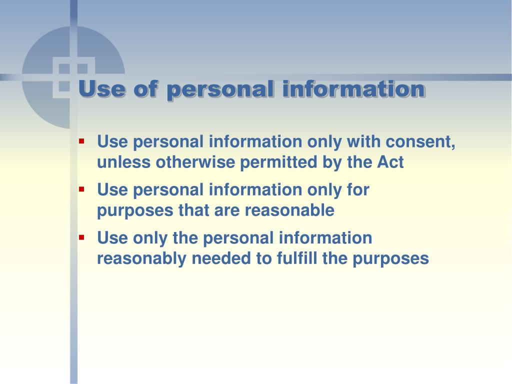 Use of personal information