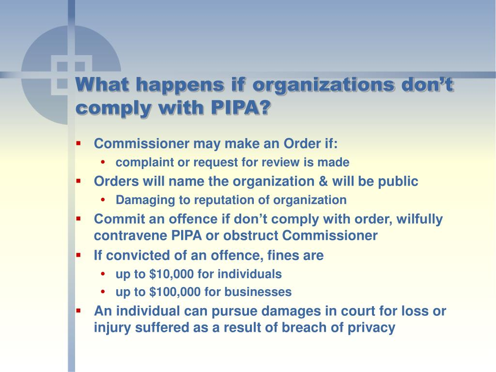 What happens if organizations don't comply with PIPA?