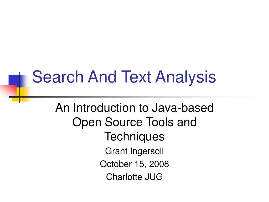 search and text analysis l.