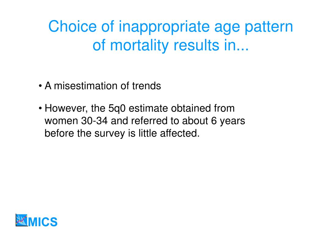 Choice of inappropriate age pattern of mortality results in...