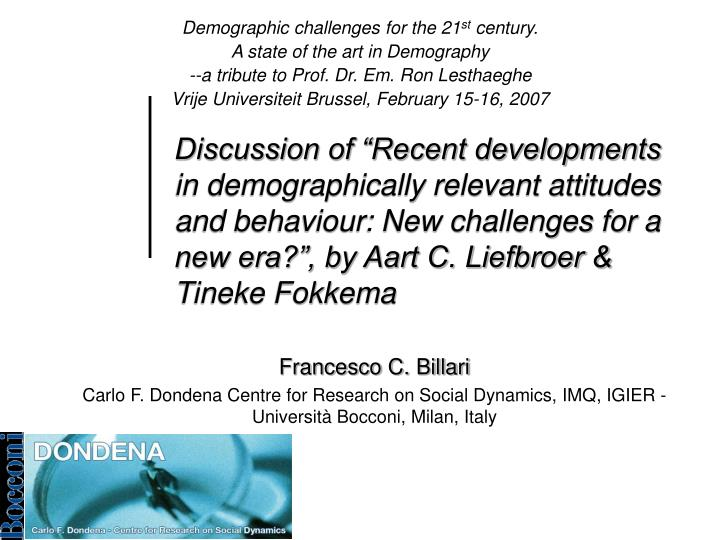 Demographic challenges for the 21