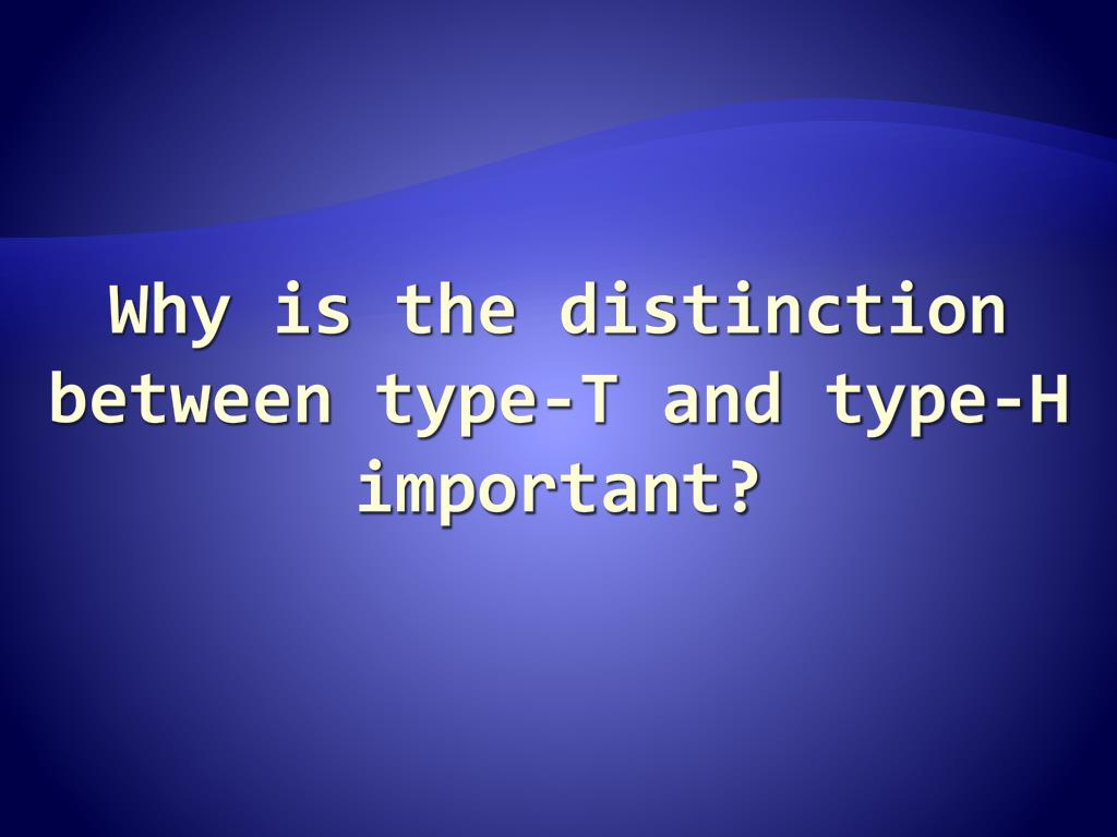 Why is the distinction