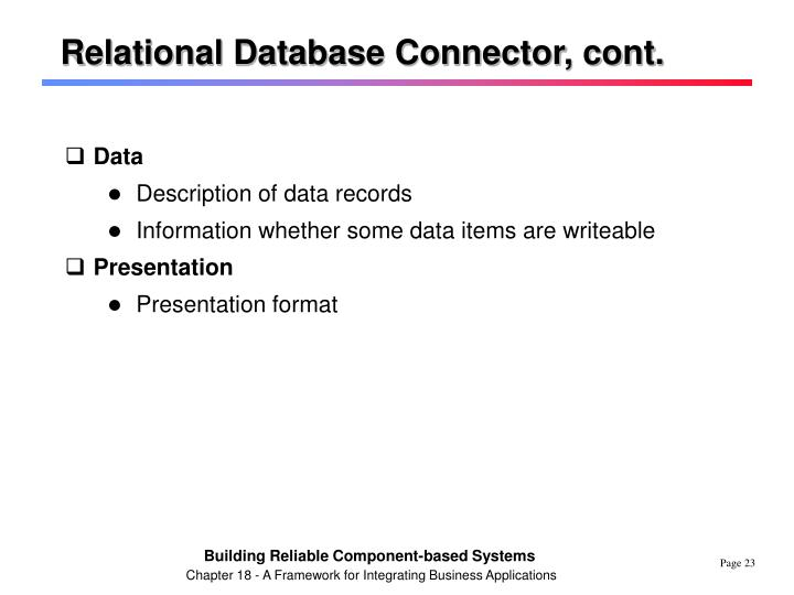 Relational Database Connector, cont.