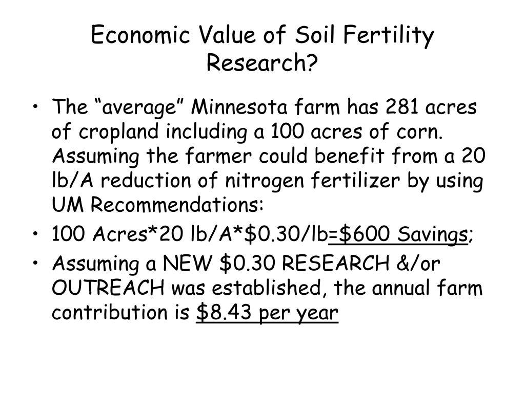 Economic Value of Soil Fertility Research?