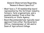 general observations regarding research board specifics