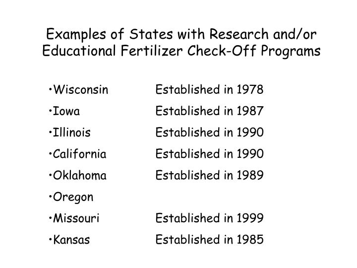 Examples of States with Research and/or Educational Fertilizer Check-Off Programs
