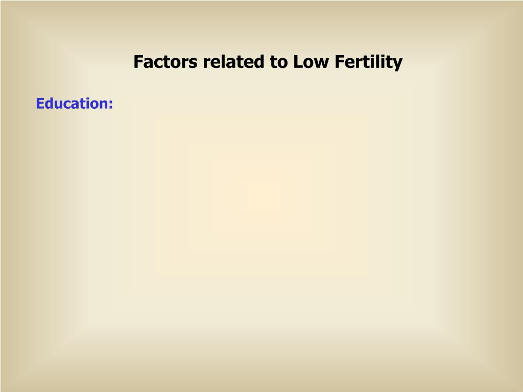 Factors related to Low Fertility