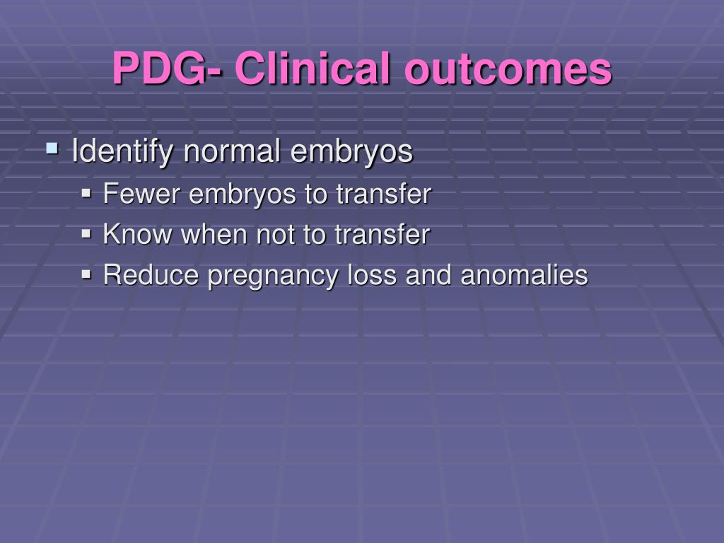 PDG- Clinical outcomes