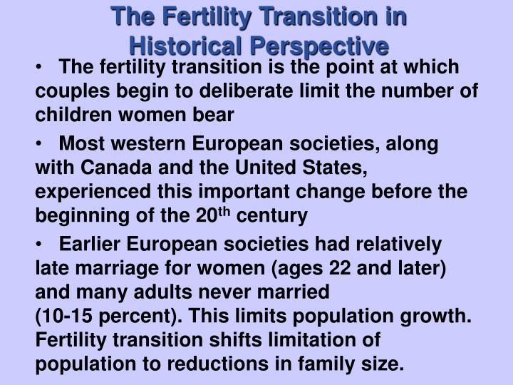 The fertility transition in historical perspective2