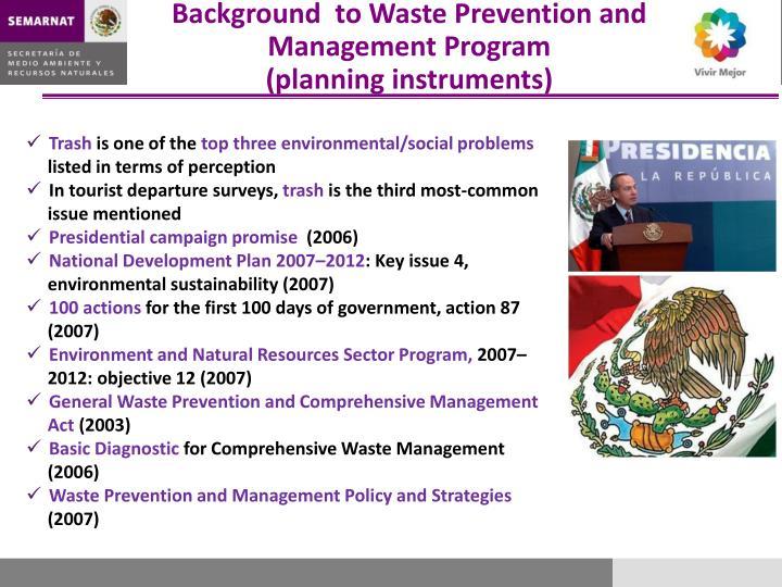 Background  to Waste Prevention and Management Program