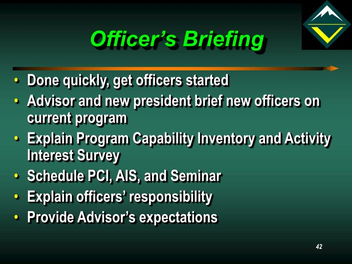 Officer's Briefing