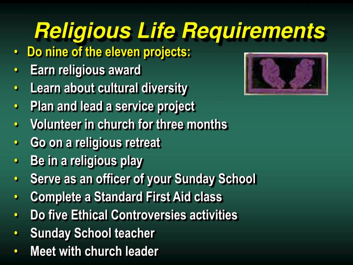Religious Life Requirements