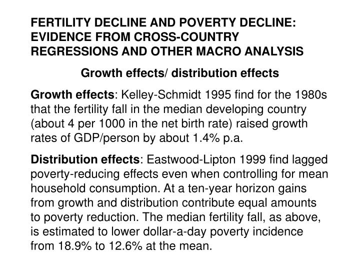 FERTILITY DECLINE AND POVERTY DECLINE: EVIDENCE FROM CROSS-COUNTRY REGRESSIONS AND OTHER MACRO ANALY...