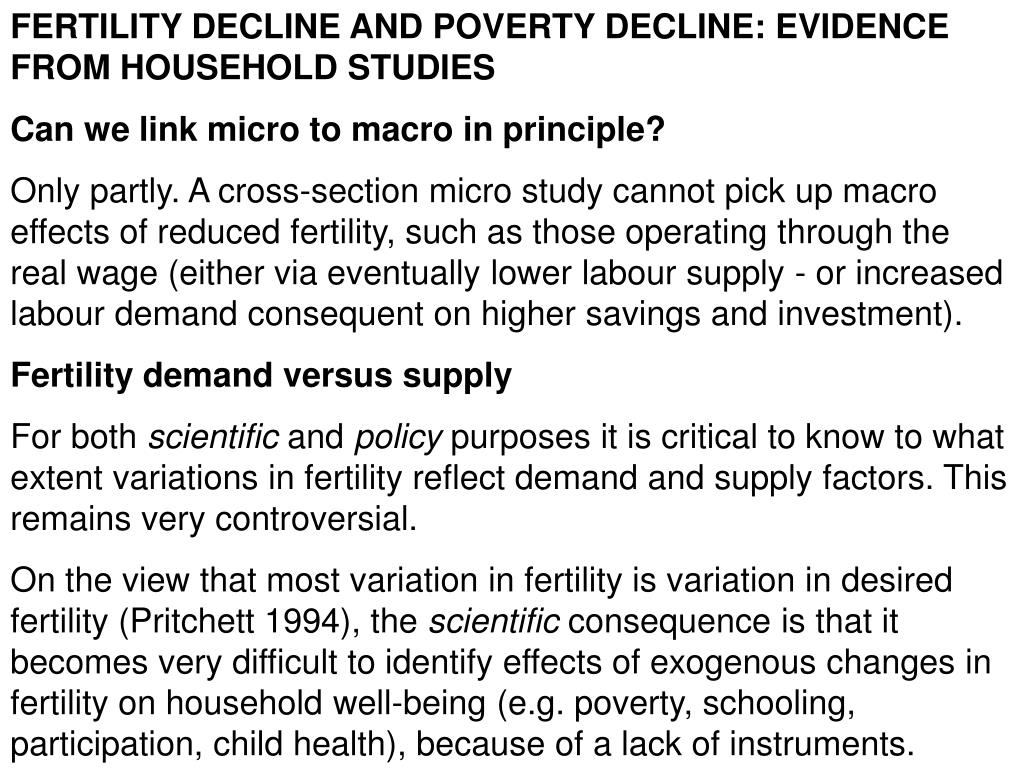 FERTILITY DECLINE AND POVERTY DECLINE: EVIDENCE FROM HOUSEHOLD STUDIES