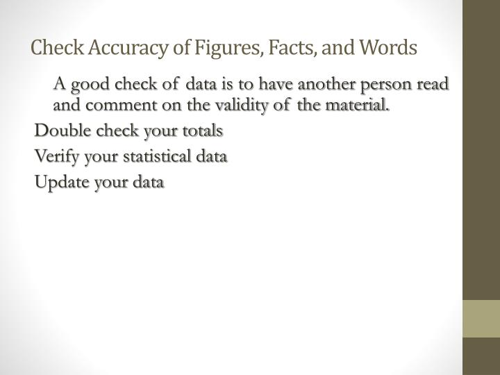 Check Accuracy of Figures, Facts, and Words