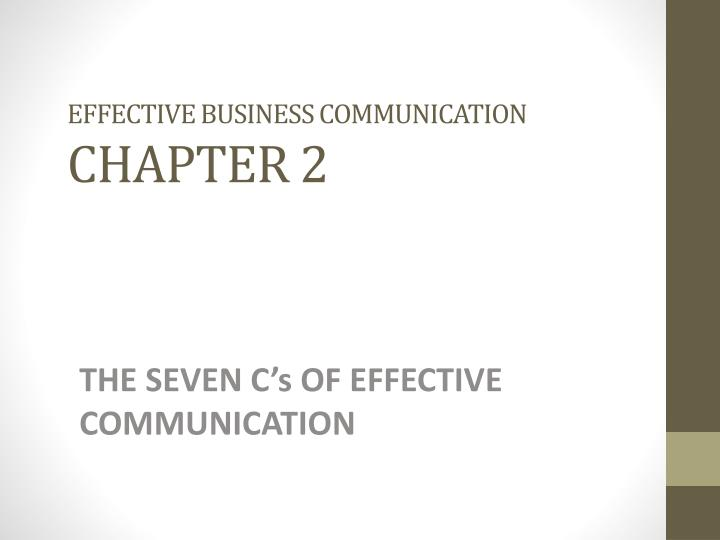 Effective business communication chapter 2