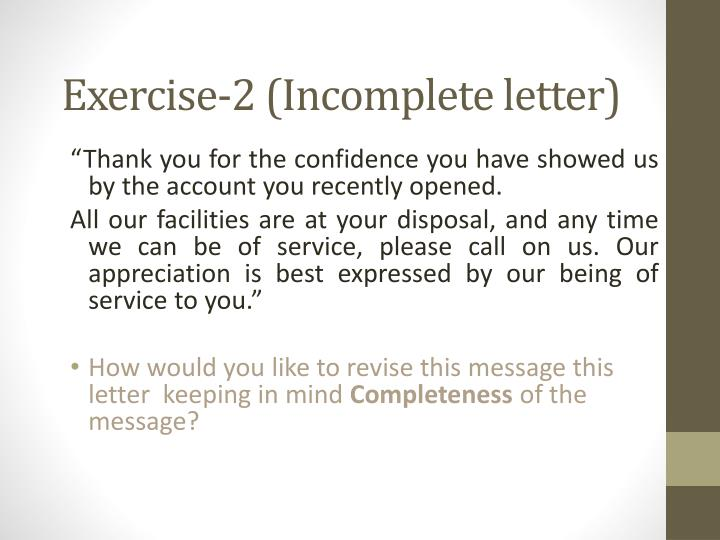 Exercise-2 (Incomplete letter)