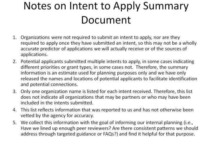 notes on intent to apply summary document n.