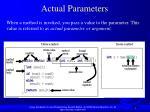 actual parameters