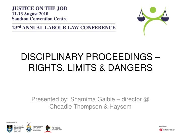 disciplinary proceedings rights limits dangers n.