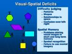 visual spatial deficits