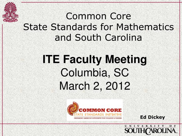 common core state standards for mathematics and south carolina n.