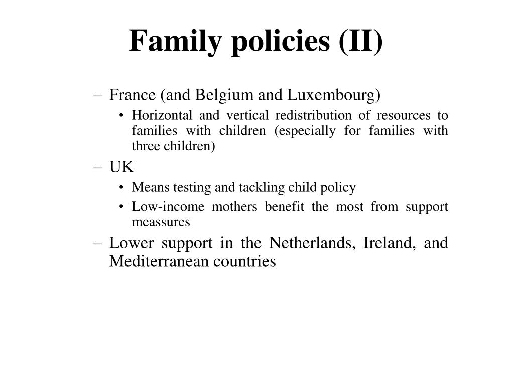 Family policies (II)