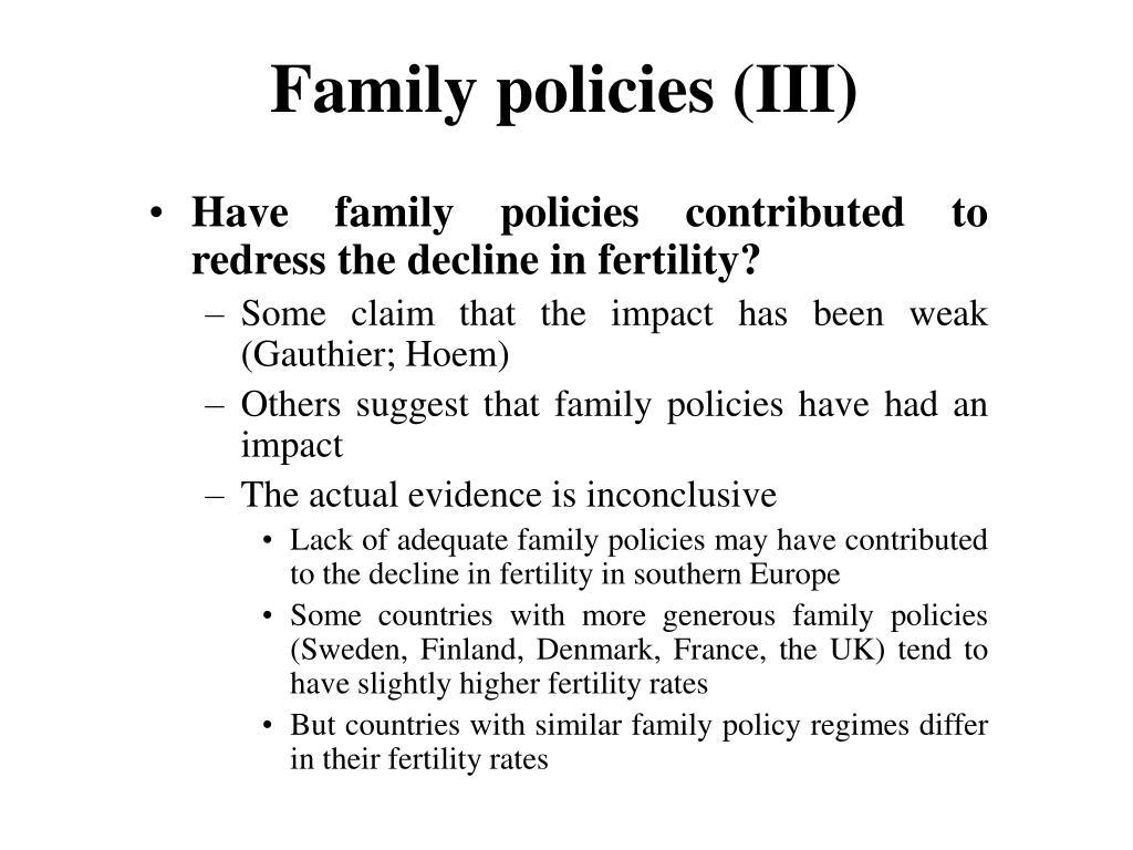 Family policies (III)