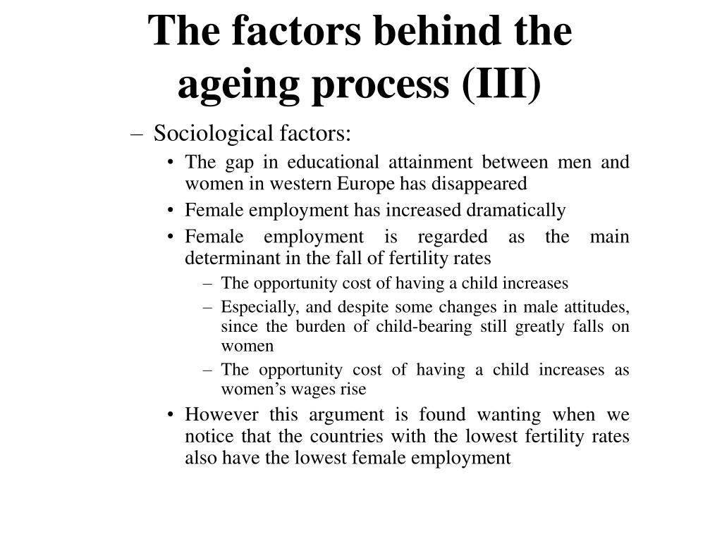 The factors behind the ageing process (III)