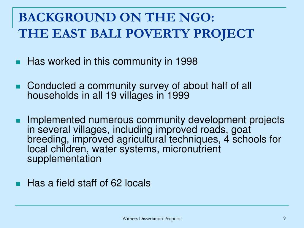 BACKGROUND ON THE NGO: