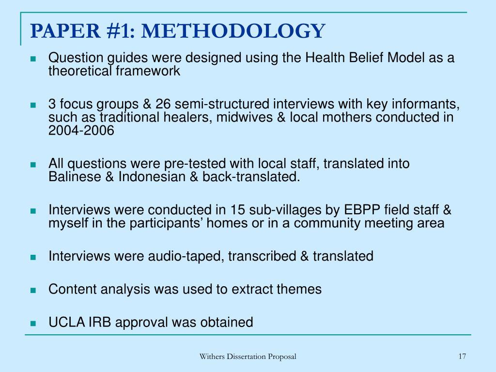 PAPER #1: METHODOLOGY