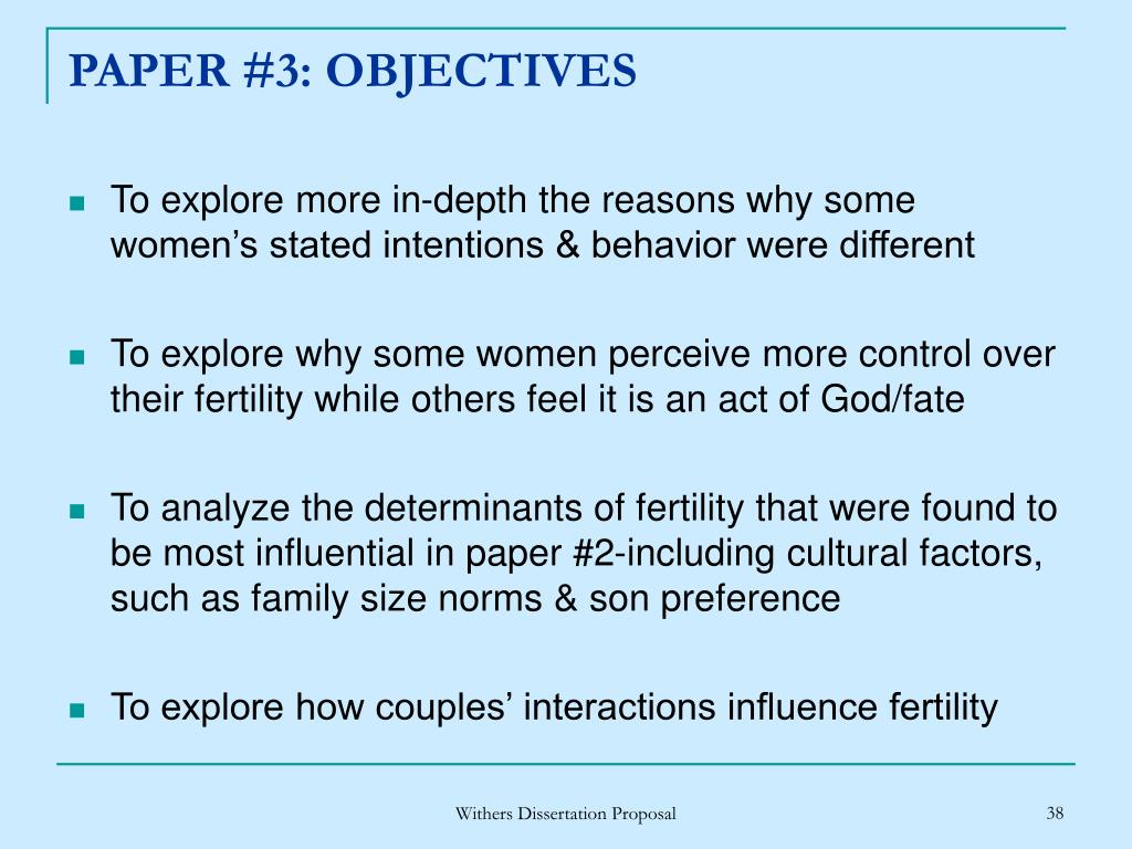 PAPER #3: OBJECTIVES