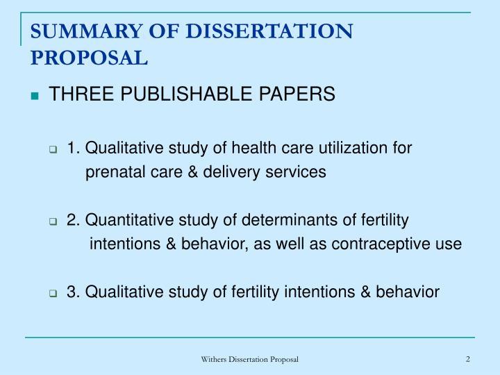 Summary of dissertation proposal