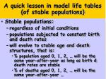 a quick lesson in model life tables of stable populations