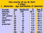 how exactly do we do this 2 steps 1 materials age distribution of skeletons