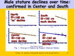 male stature declines over time confirmed in center and south