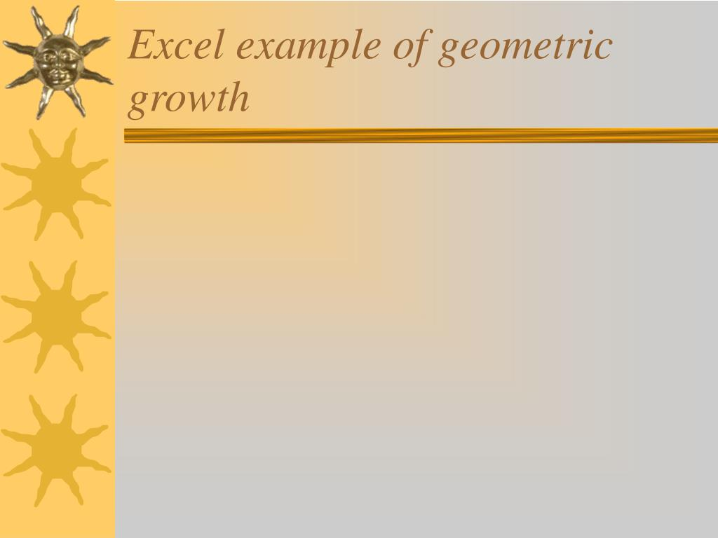 Excel example of geometric growth