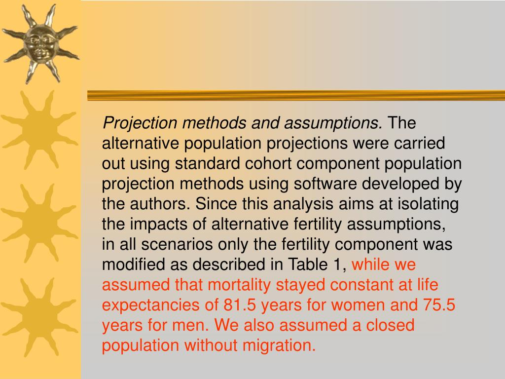 Projection methods and assumptions.