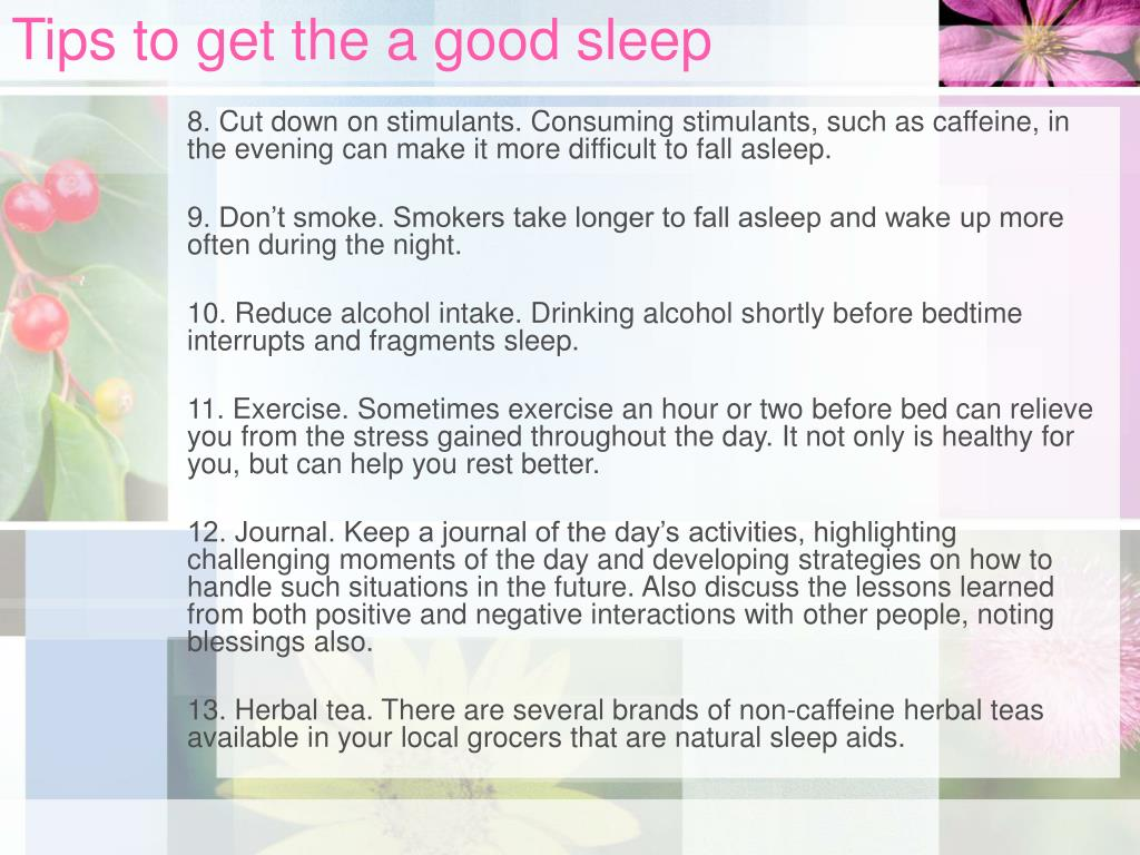 Tips to get the a good sleep