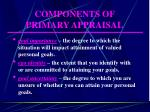 components of primary appraisal