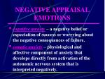 negative appraisal emotions