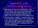 stressful life events research