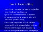 how to improve sleep