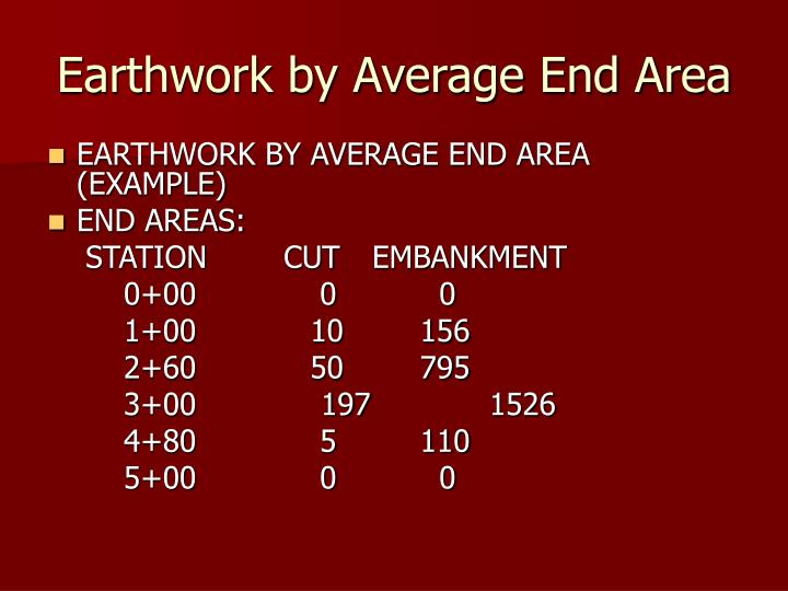 Earthwork by Average End Area