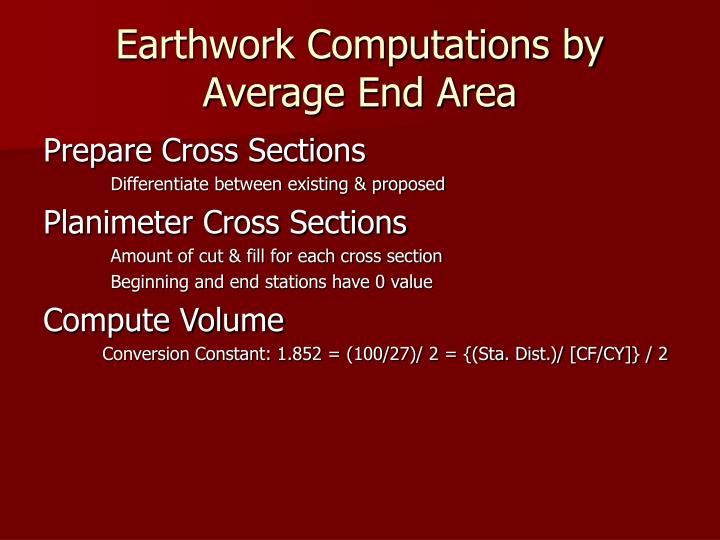 Earthwork Computations by Average End Area