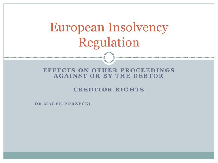 european insolvency regulation n.